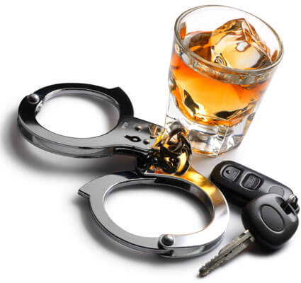 Photo of a glass of alcohol, car keys and handcuffs