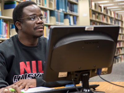 Using a computer in Founders Memorial Library