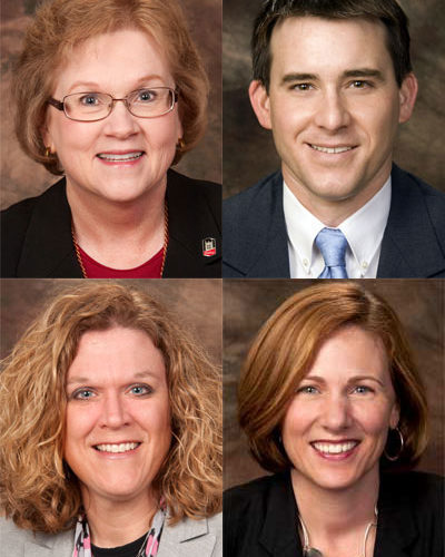 Top row: Patricia Anderson and Ben Bingle. Bottom row: Betsy Hull and Jennifer Kirker Priest