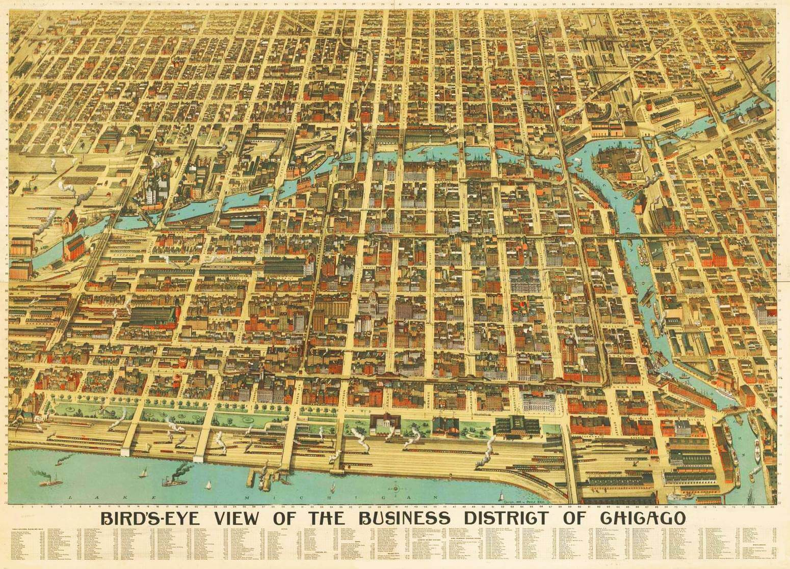 An early 20th century map of the Chicago business district.