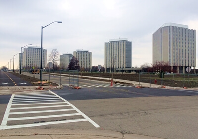 Intersection of Lucinda Avenue and Stadium Drive East looking west toward Grant South and Stevenson Towers.