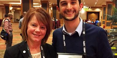 NIU's Adam White and Joyce Hall, executive director of NODA