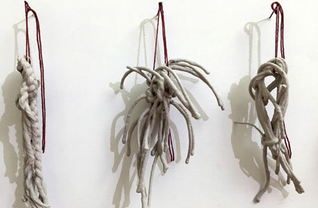 "Christine LoFaso: ""Fifty Knots."" Linen cord, clay slip, installation detail."