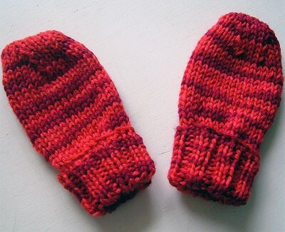 Red-and-black mittens