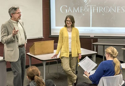Professors Jeff Chown and Valerie Garver team teach the Game of Thrones honors seminar.