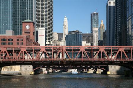 Wells Street bridge over Chicago River