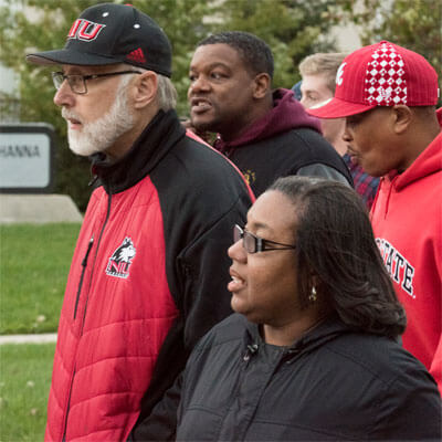 NIU President Doug Baker and Chief Diversity Officer Vernese Edghill-Walden participate in October's Unity Walk.