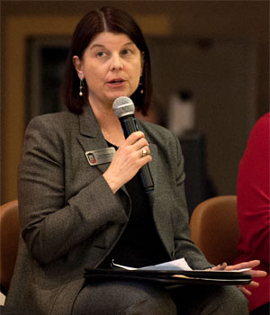 Executive Vice President and Provost Lisa Freeman discusses Program Prioritization during the town hall meeting.