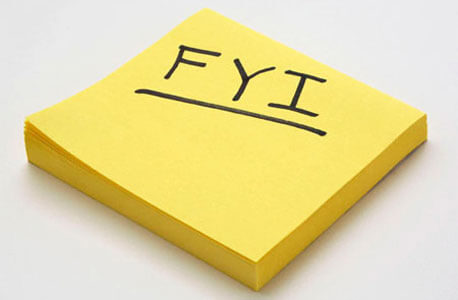 FYI written on Post-It Note
