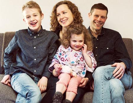 Lori Henriques with son Leo, daughter Elsa and husband Matt Keeslar