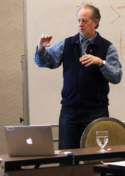 Michael Syphers teaching a course at the most recent U.S. Particle Accelerator School held at the University of Texas, Austin.