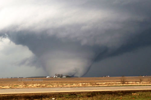 The April 9 tornado near Franklin Grove, Ill. Photo courtesy Walker Ashley, NIU Department of Geography
