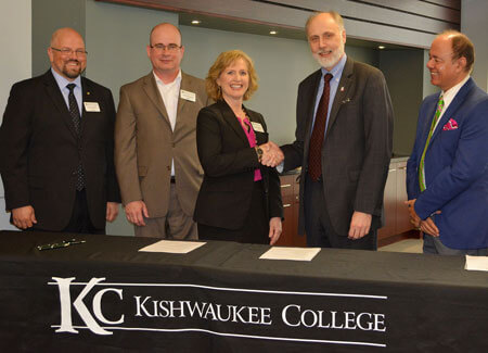 From left: Matt Feuerborn, dean of Career Technologies at Kishwaukee College; Mark Lanting, vice president of instruction at KC; Laurie Borowicz, president of KC; Doug Baker, president of NIU; and Promod Vohra, dean of the NIU College of Engineering and Engineering Technology.
