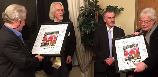 Recently retired Associate Dean David Gaebler (far left) and Professor Daniel Reynolds (far right), who served as co-directors of the study abroad program for much of its history, were honored during dinner. They were joined by current program director Professor David Taylor (second from left) and Interim Dean Mark Cordes (second from right).