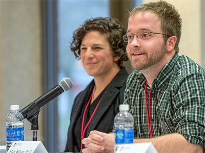 Sharon Moskowitz, an NIU graduate student, and Matt Wilson, assistant professor in the NIU School of Allied Health and Communicative Disorders.