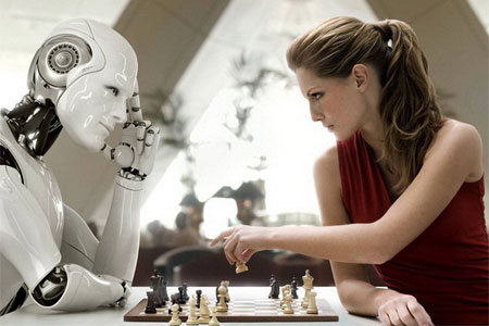 sentient robot plays chess