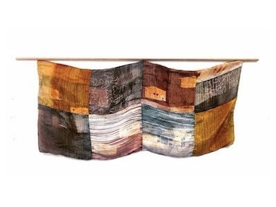 A Collective Memory (fiber scroll study), screen-printed silk, thread, wood, 2016