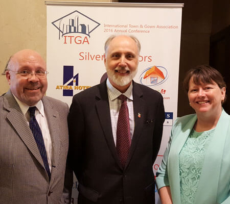 DeKalb Mayor John Rey, NIU President Doug Baker<br /> and DeKalb City Manager Anne Marie Gaura spoke June 7 at the 2016 annual conference<br /> of the International Town & Gown Association, held at the Loyola Lake Shore Campus.