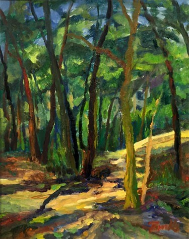 Josephine Burke. Woods at Oxbow. Oil on paper; (21 x 17 in.)