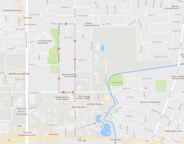Map of Unity Walk route