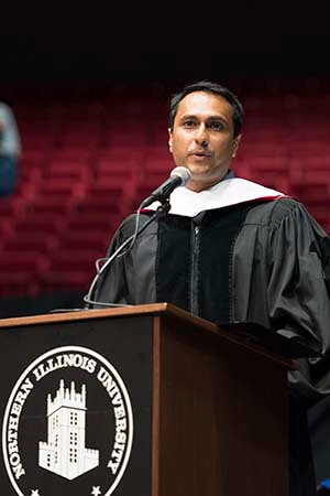 Eboo Patel, president of the Chicago-based Interfaith Youth Core, received an honorary degree during the NIU Graduate School commencement ceremony on May 13, 2016.