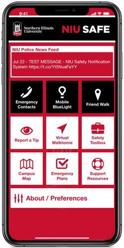 NIU Safe app menu